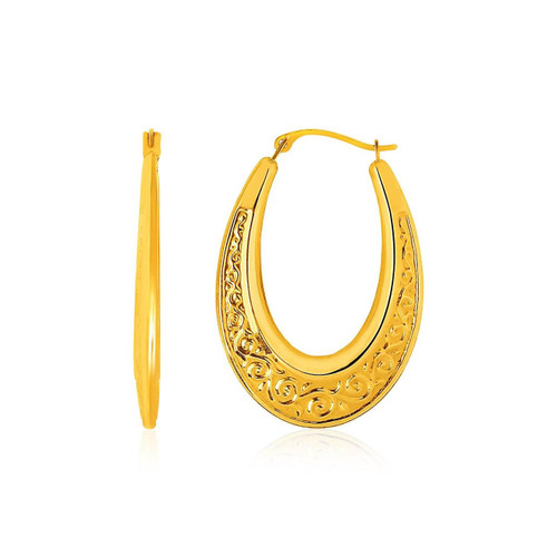 14K Yellow Gold Graduated Oval Hoop Earrings with Swirl Design