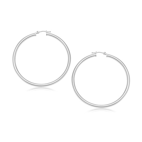 10K White Gold Polished Hoop Earrings (30 mm) - 38903