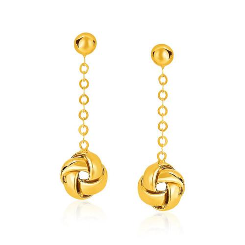 14K Yellow Gold Love Knot Drop Post Earrings