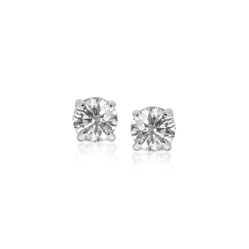 14K White Gold Stud Earrings with White Hue Faceted Cubic Zirconia - 05873