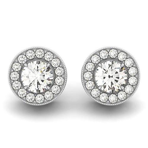 14K White Gold Round Diamond Halo Milgrain Border Earrings (3/4 ct. tw.)