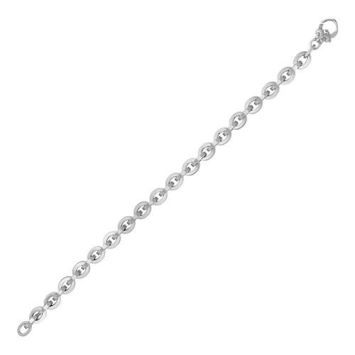 Shiny Oval Link Bracelet in 14K White Gold