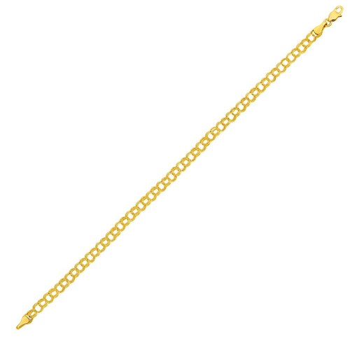 Round Link Charm Bracelet in 10K Yellow Gold