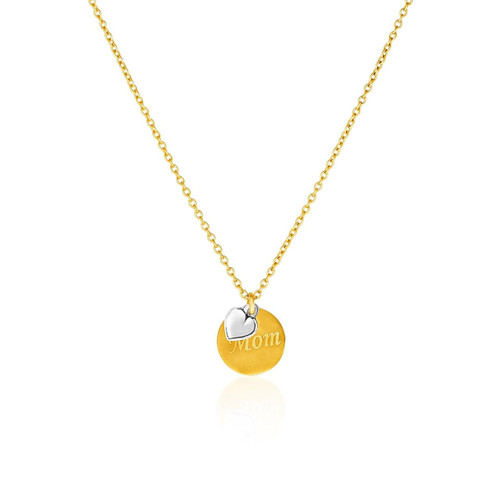 "14K Two-Toned Yellow and White Gold ""Mom"" and Heart Pendant"
