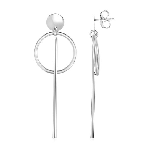 Earrings with Polished Ring and Vertical Bar Drops in Sterling Silver