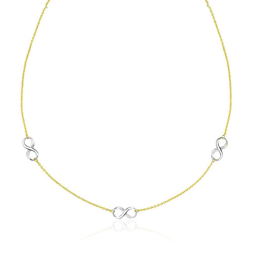 14K Two-Tone Gold Chain Necklace with Polished Infinity Stations