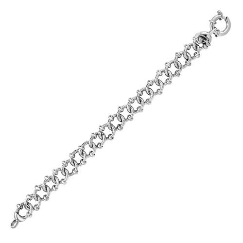 Textured Embellished Link Bracelet in Sterling Silver