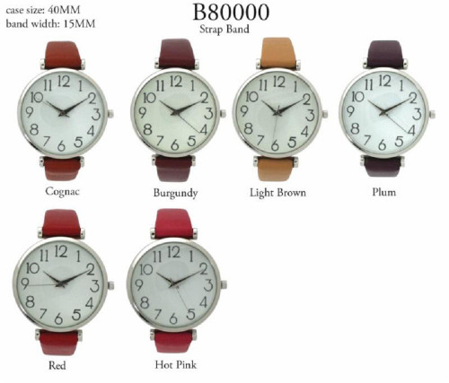 Easy to Read Ladies Round 40mm Large Fashion Watch Thin Leatherette Strap