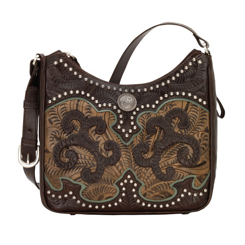 American West Annie's Secret Collection Shoulder Bag Conceal & Carry -Chocolate/Charcoal Brown