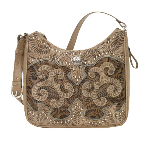 American West Annie's Secret Collection Shoulder Bag Conceal & Carry -Sand/Charcoal Brown