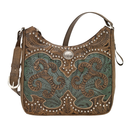 American West Annie's Secret Collection Shoulder Bag Conceal & Carry -Distressed Charcoal Brown/Turquoise