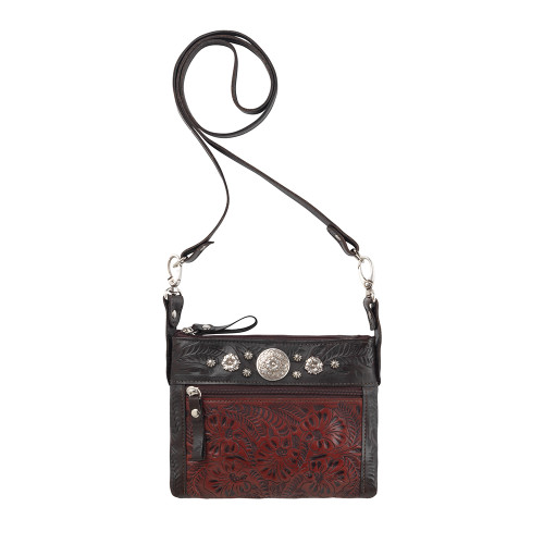 American West Trail Rider Hip Crossbody Bag -Charcoal/Distressed Crimson