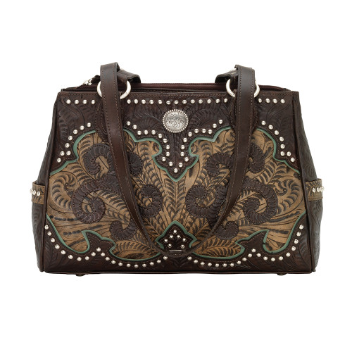 American West Annie's Secret Collection Multicompartment Tote Secret Compartment -Chocolate/Distressed Charcoal Brown