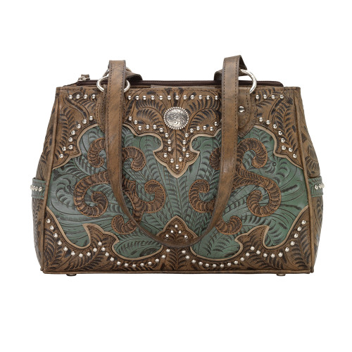 American West Annie's Secret Collection Multi-compartment Tote Conceal & Carry -Distressed Charcoal Brown/Turquoise