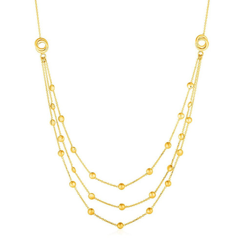 Gold Station Necklace with Three Chains and Love Knots in 14K Yellow Gold