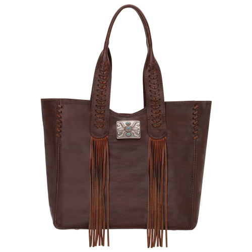 American West Mohave Canyon Large Zip Top Tote Chestnut Brown