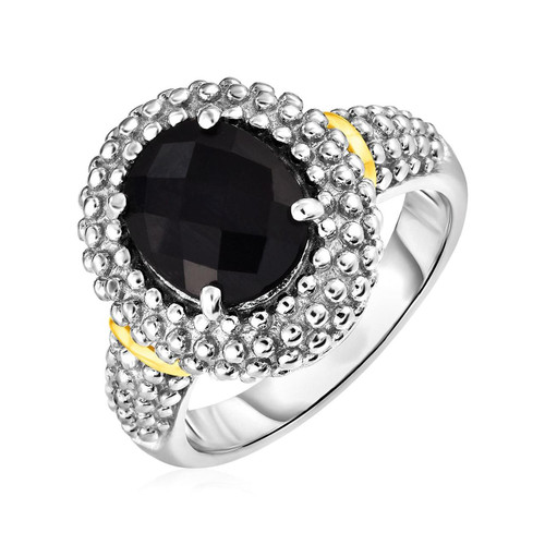 Ring with Oval Onyx in 18K Yellow Gold & Sterling Silver
