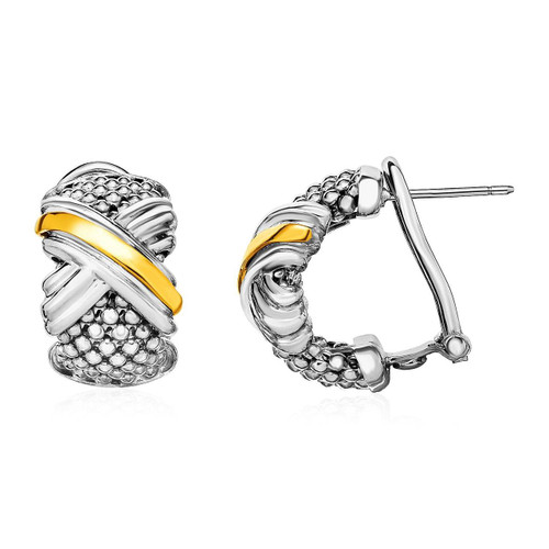 Popcorn Texture Earrings with X Motif in Sterling Silver and 18K Yellow Gold