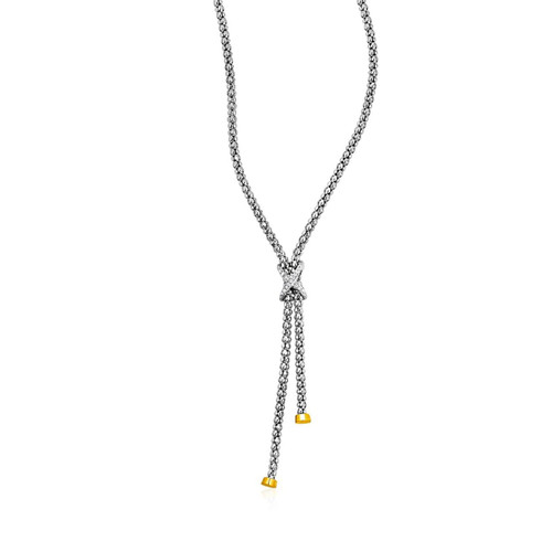 Popcorn Texture Lariat Necklace with Diamonds in Sterling Silver and 18K Yellow Gold