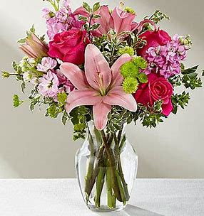 The ftd pink posh bouquet the flowerloft hot pink roses are bright and beautiful arranged amongst pink asiatic lilies pink gilly flower mightylinksfo