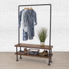 Industrial Pipe Clothing Rack with Cedar Wood Shelves   Double Shelf