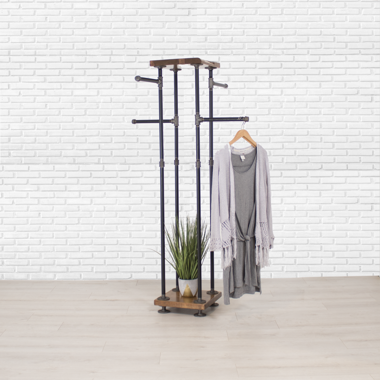 Industrial Pipe And Wood Clothes Rack 4 Way, Garment Rack, Clothing Rack,