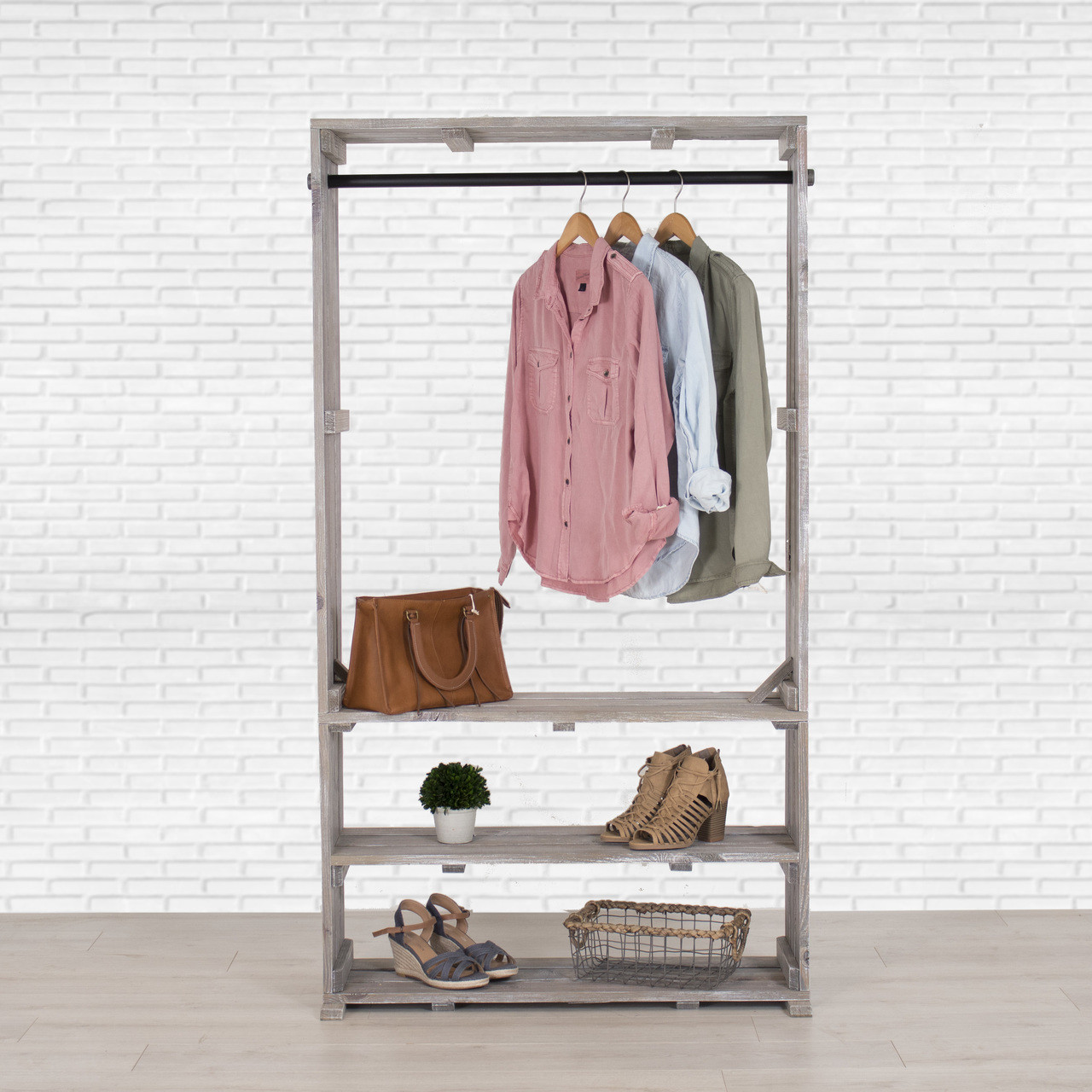 Wooden Clothing Rack With Shelves Free Standing Clothing