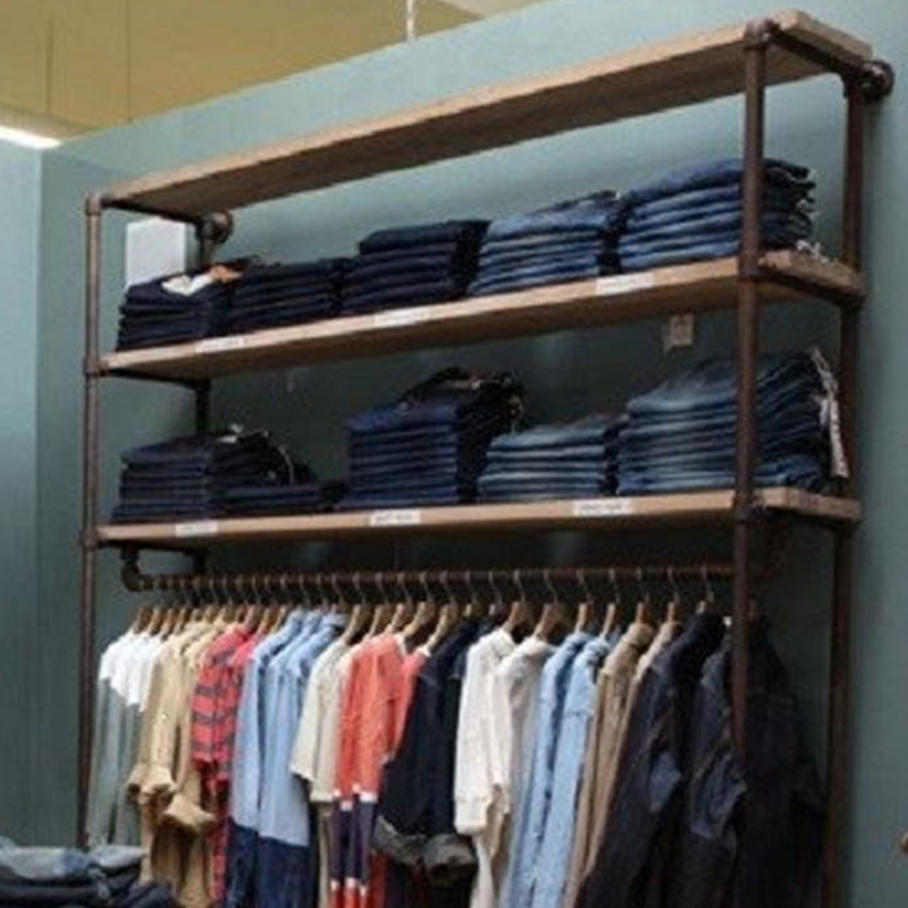 Delicieux Industrial Pipe Clothing Rack | Large Wall Rack