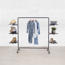 Industrial Pipe Clothing Rack with Cedar Wood Shelving | Side Shelf