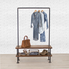 Industrial Pipe Clothing Rack with Cedar Wood Shelves | Double Shelf