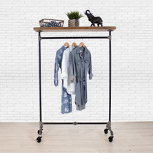 Industrial Pipe Clothing Rack with Cedar Wood Top Shelf