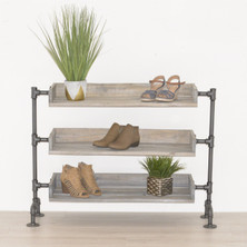 Industrial Pipe and Wood Shoe Rack | Shoe Organizer | Free Standing Shoe Rack | Shoe Storage | Wood Shelving Display