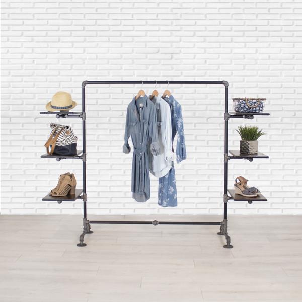 Industrial Pipe Clothing Rack with Cedar Wood Shelving   Side Shelf