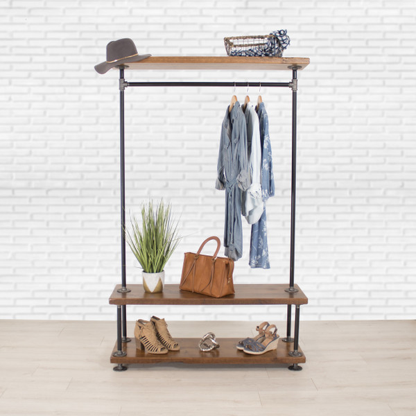 industrial pipe clothing rack with cedar wood shelves triple shelf william roberts vintage. Black Bedroom Furniture Sets. Home Design Ideas