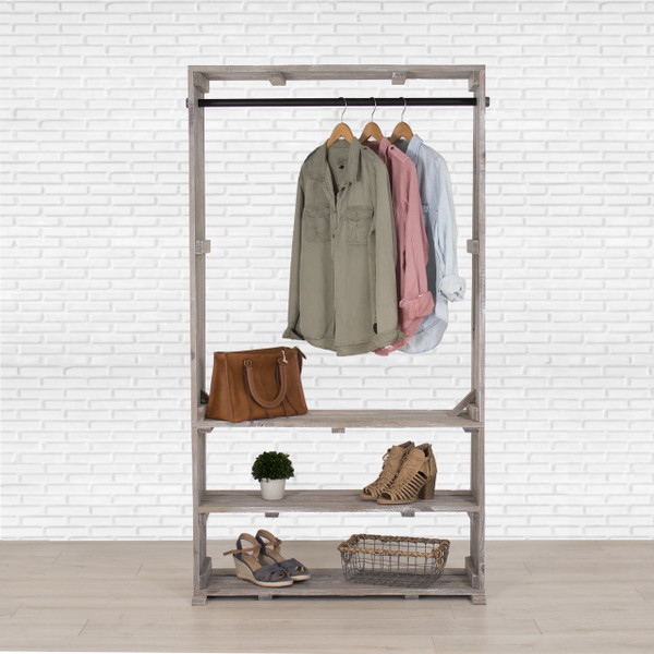 Wooden Clothes Rack: Wooden Clothing Rack With Shelves, Free Standing Clothing