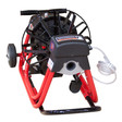 """DM10 SP sewer clearing machine with adjustable handle and 6"""" wheels for transportation"""
