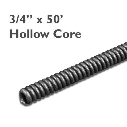 """3/4"""" x 50' commercial hollow core sewer cable is great for clearing mainlines up to 10"""" in diameter."""