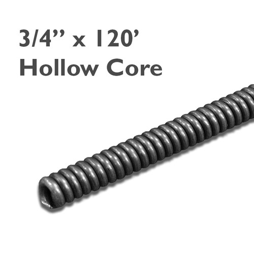 "3/4"" x 120' industrial hollow core drain snake for cleaning mainline drains up to 10"" in diameter."
