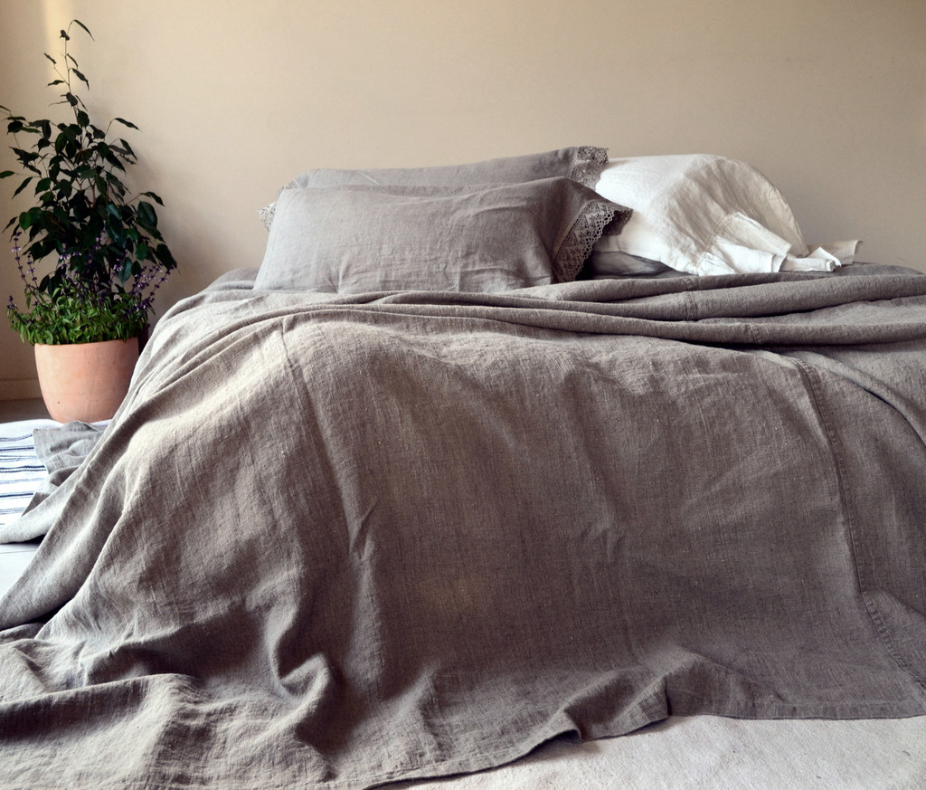 Rustic Rough Linen Bed cover/Coverlet