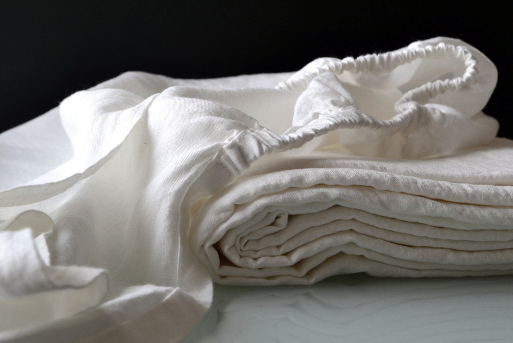 Antique white fitted linen sheet. Stonewashed linen. All sizes
