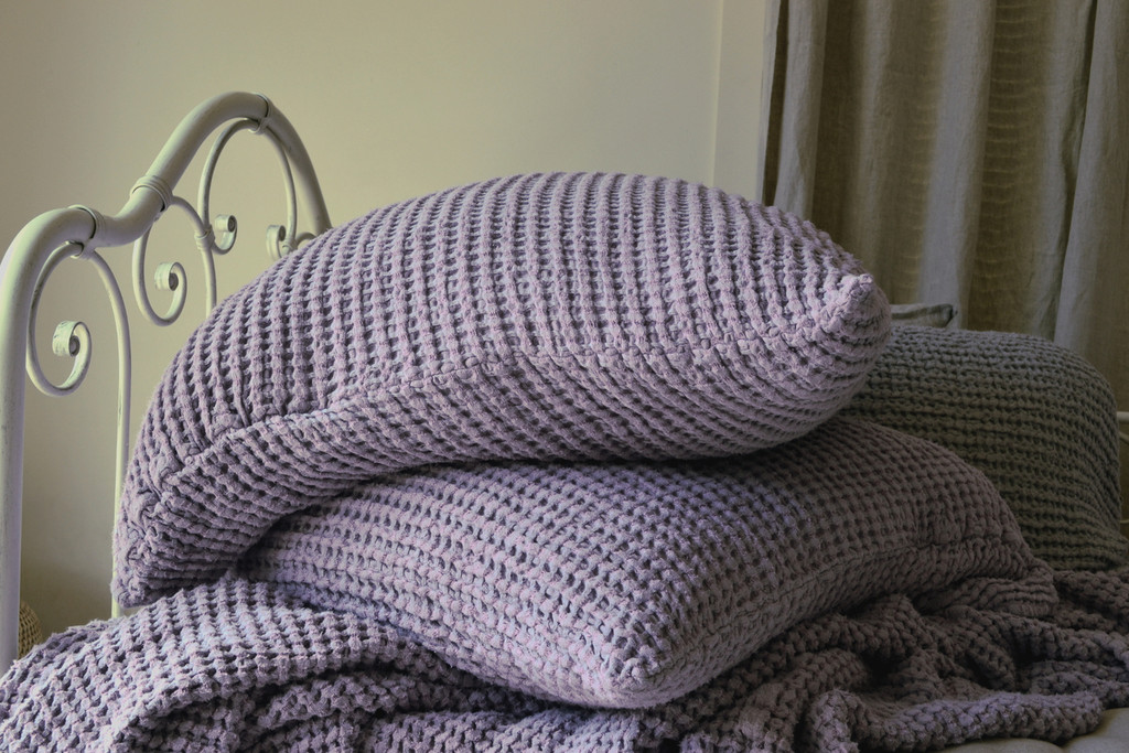Lilac Waffle Linen Pillow Case. Super heavy weight linen