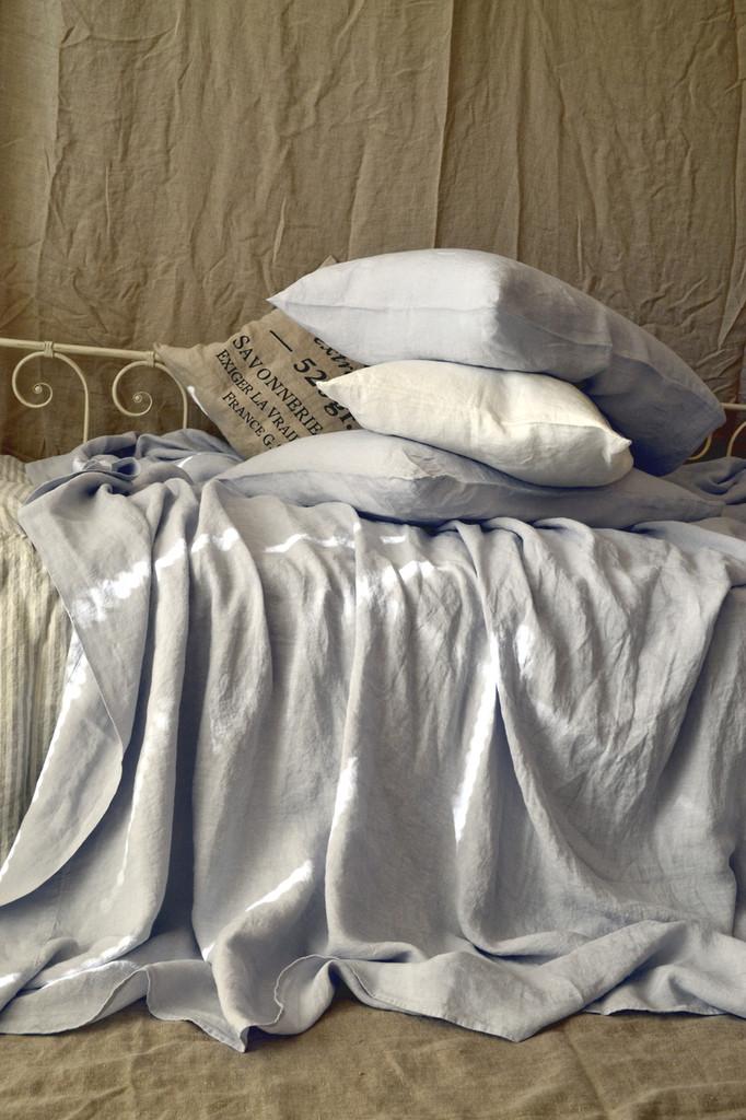 Silver light grey luxurious linen flat sheet