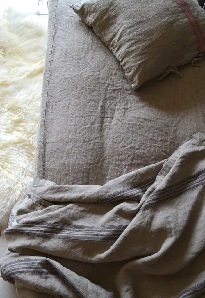 Rustic Rough heavy weight linen fitted sheet, Natural