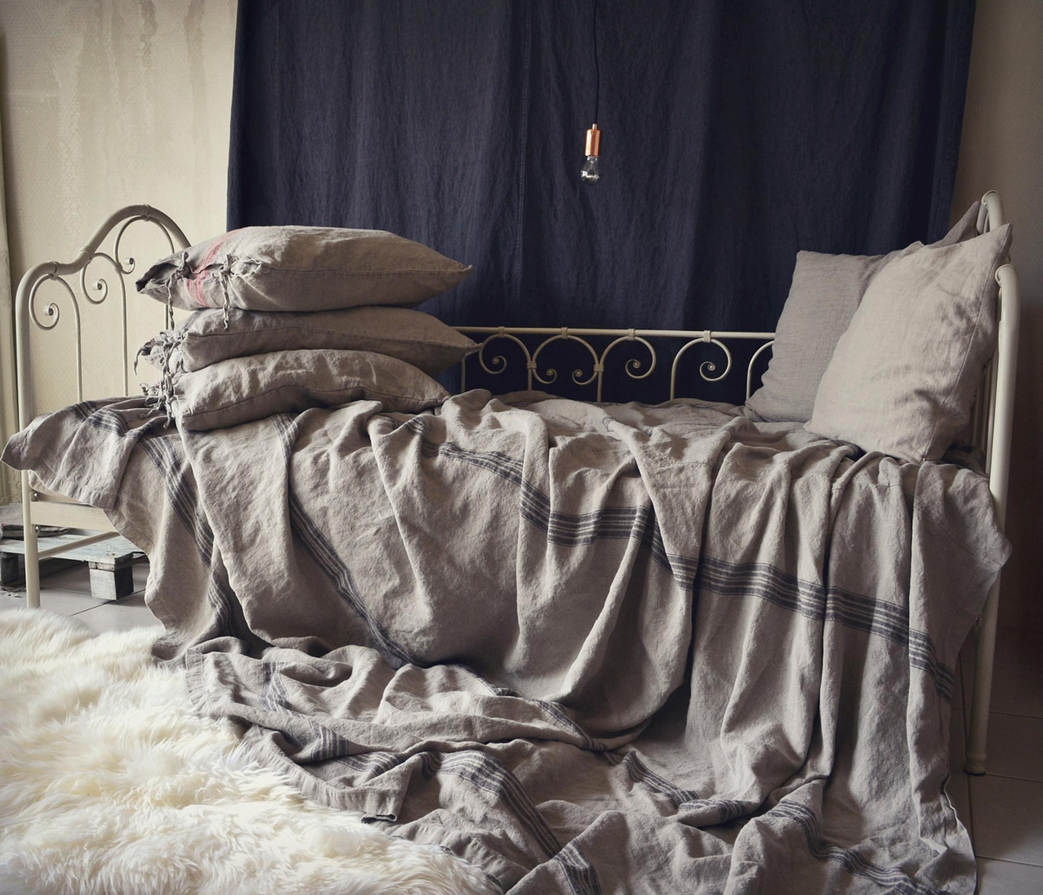 Vintage Grainsack Heavy Linen Coverlet ⎮bed Cover