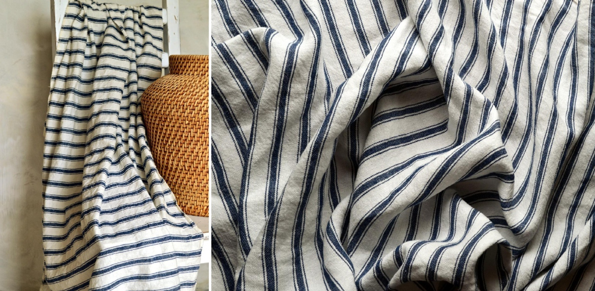 French Vintage Navy Ticking Linen Coverlet Bed Cover