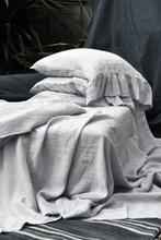 Luxurious light grey linen fitted sheet. All sizes