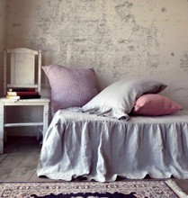 Ruffled Bedskirt⎮Bed Valance⎮Light Grey natural linen