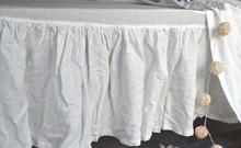 Ivory Heavy weight Linen Ruffled Valance⎮Bedskirt⎮Dust Ruffle