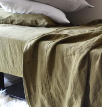 Olive green luxurious linen flat sheet