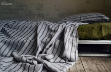 Vintage Black Ticking linen flat sheet